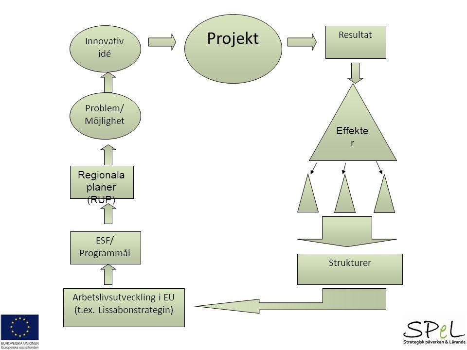 Problem/ Möjlighet Innovativ idé Projekt Regionala planer (RUP) ESF/ Programmål Arbetslivsutveckling i EU (t.ex. Lissabonstrategin) Resultat Strukture
