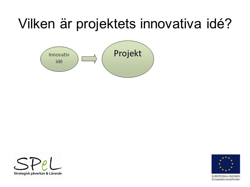 Vilken är projektets innovativa idé? Innovativ idé Projekt
