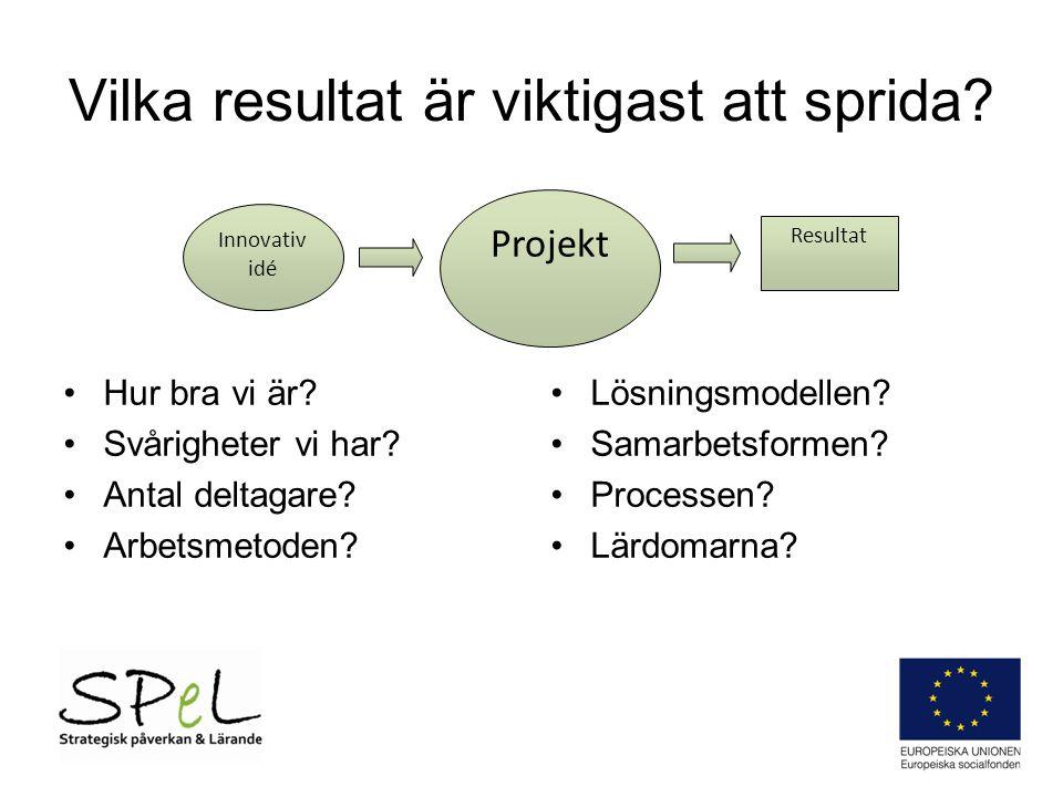Vad vill vi åstadkomma för skillnad efter projektet? Projekt Resultat Effekte r Innovativ idé