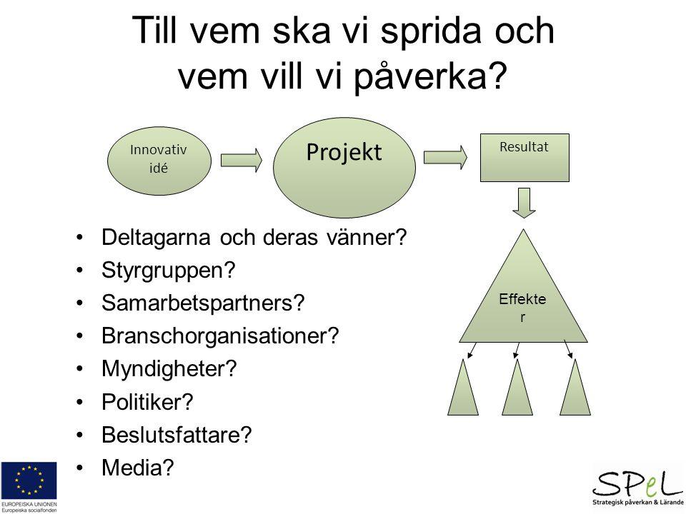 Projekt Resultat Effekte r Innovativ idé Till vem ska vi sprida och vem vill vi påverka? Deltagarna och deras vänner? Styrgruppen? Samarbetspartners?