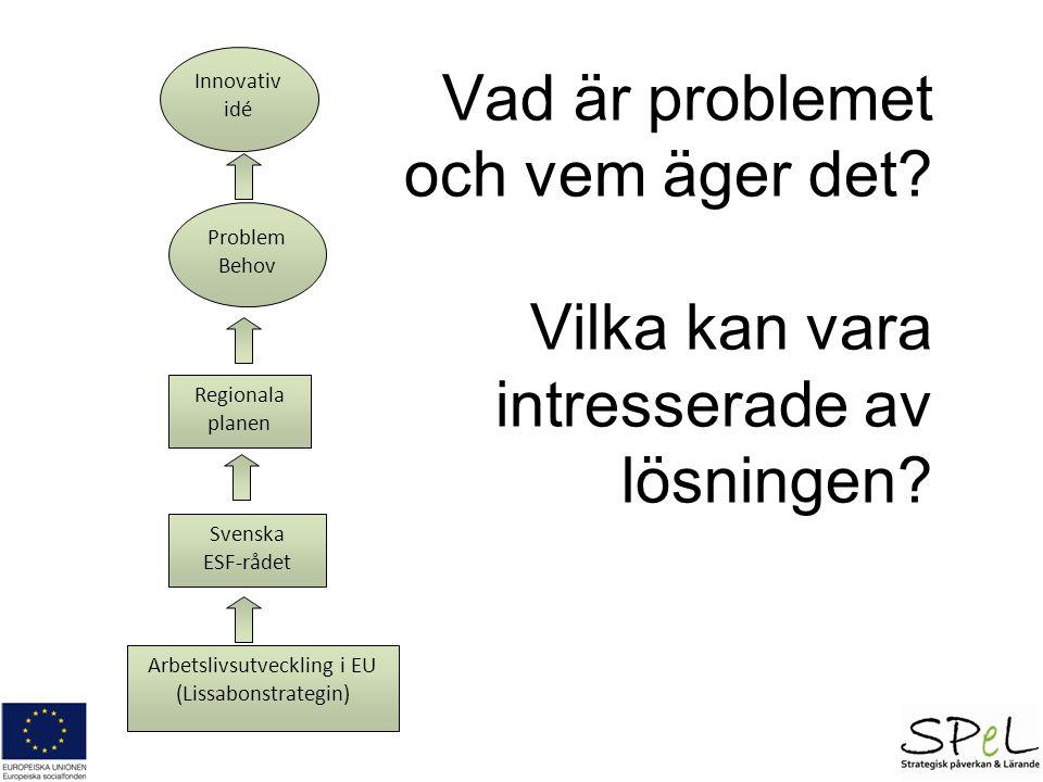 Vad är problemet och vem äger det? Vilka kan vara intresserade av lösningen? Problem Behov Innovativ idé Regionala planen Svenska ESF-rådet Arbetslivs