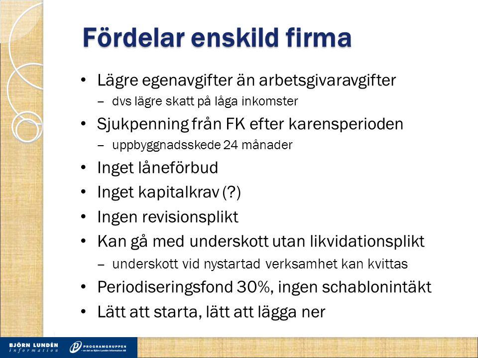 Fördelar enskild firma Lägre egenavgifter än arbetsgivaravgifter ‒ dvs lägre skatt på låga inkomster Sjukpenning från FK efter karensperioden ‒ uppbyg