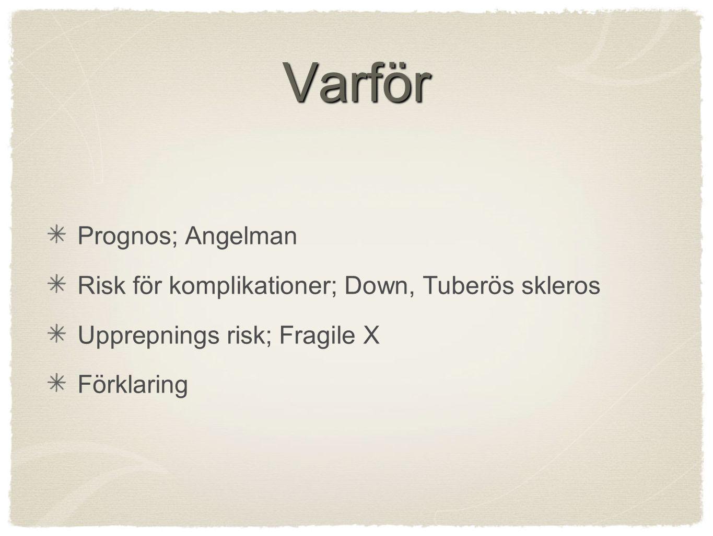 Varför Prognos; Angelman Risk för komplikationer; Down, Tuberös skleros Upprepnings risk; Fragile X Förklaring