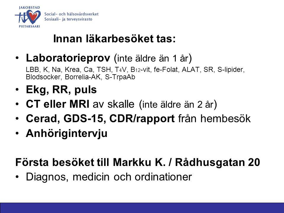 Innan läkarbesöket tas: Laboratorieprov ( inte äldre än 1 år ) LBB, K, Na, Krea, Ca, TSH, T 4 V, B 12 -vit, fe-Folat, ALAT, SR, S-lipider, Blodsocker, Borrelia-AK, S-TrpaAb Ekg, RR, puls CT eller MRI av skalle ( inte äldre än 2 år ) Cerad, GDS-15, CDR/rapport från hembesök Anhörigintervju Första besöket till Markku K.