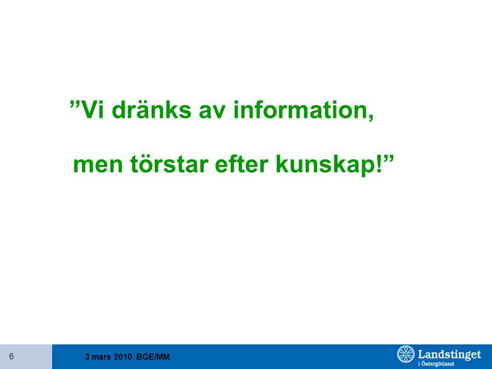 """3 mars 2010 BGE/MM 6 """"Vi dränks av information, men törstar efter kunskap!"""""""