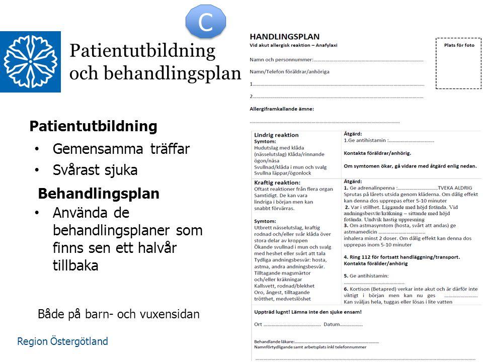 Region Östergötland C C Patientutbildning och behandlingsplan Patientutbildning Gemensamma träffar Svårast sjuka Använda de behandlingsplaner som finn
