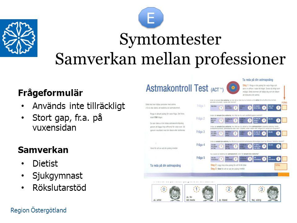 Region Östergötland Frågeformulär Används inte tillräckligt Stort gap, fr.a. på vuxensidan Dietist Sjukgymnast Rökslutarstöd Symtomtester Samverkan me