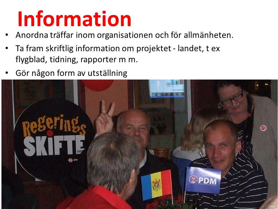 Bildning Anordna föreläsningar om landet och projektet löpande.