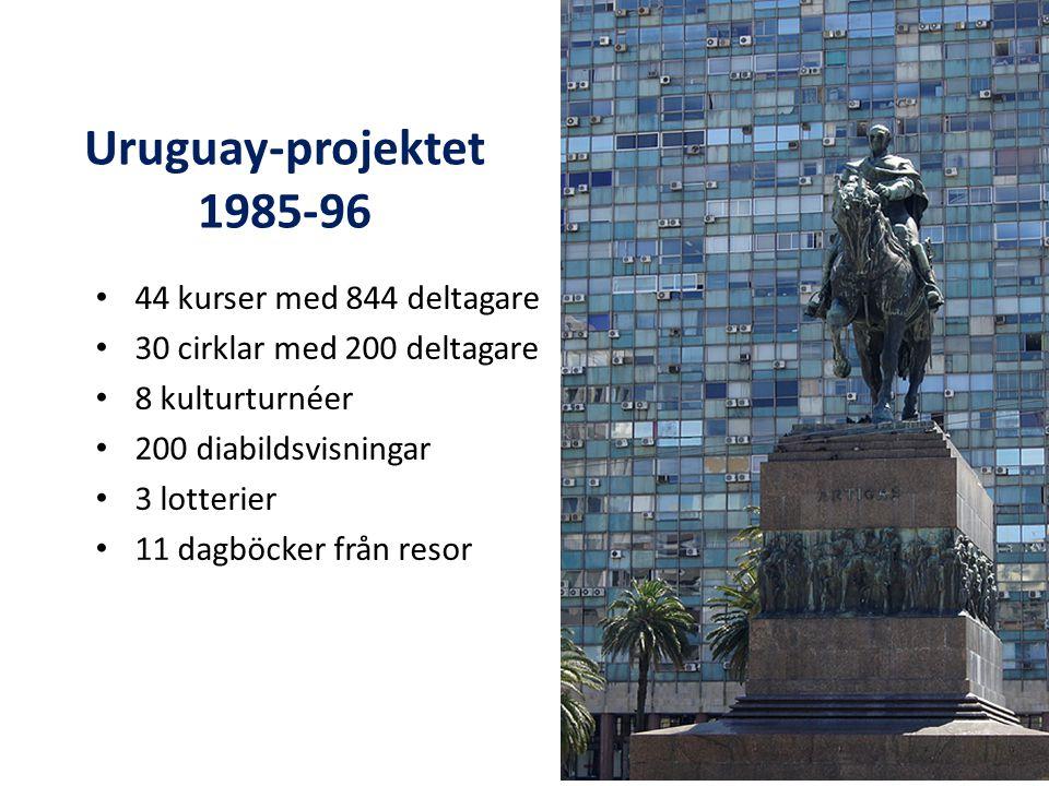 Uruguay-projektet 1985-96 44 kurser med 844 deltagare 30 cirklar med 200 deltagare 8 kulturturnéer 200 diabildsvisningar 3 lotterier 11 dagböcker från resor
