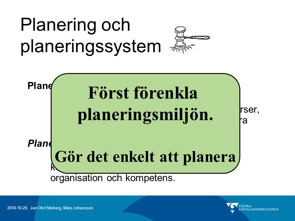 2010-10-28, Jan-Olof Moberg, Mats Johansson Den generella hierarkiska planeringsprocessen Sälj- och verksamhetsplanering Huvudplanering Detaljplanering Utförandeplanering (Verkstadsplanering) En generell modell som används av alla Den överliggande planeringsnivån sätter ramar för den underliggande.