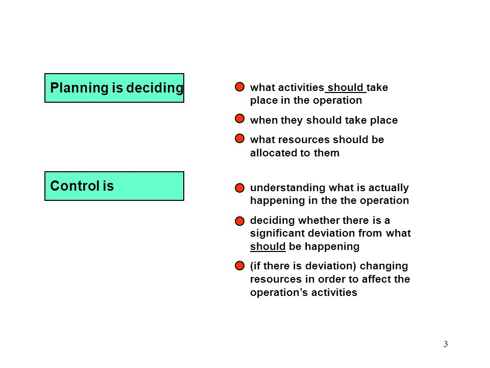 4 Significance of planning or control Time horizon Hours/days Days/ weeks/ months Months/years Medium-term Planning and Control Uses partially disaggregated demand forecasts Determines resources and contingencies Objectives set in both financial and operations terms Long-term Planning and Control Uses aggregated demand forecasts Determines resources in aggregated form Objectives set in largely financial terms Short-term Planning and Control Uses totally disaggregated forecasts or actual demand Makes interventions to resources to correct deviations from plans Ad hoc consideration of operations objectives PLANNING CONTROL