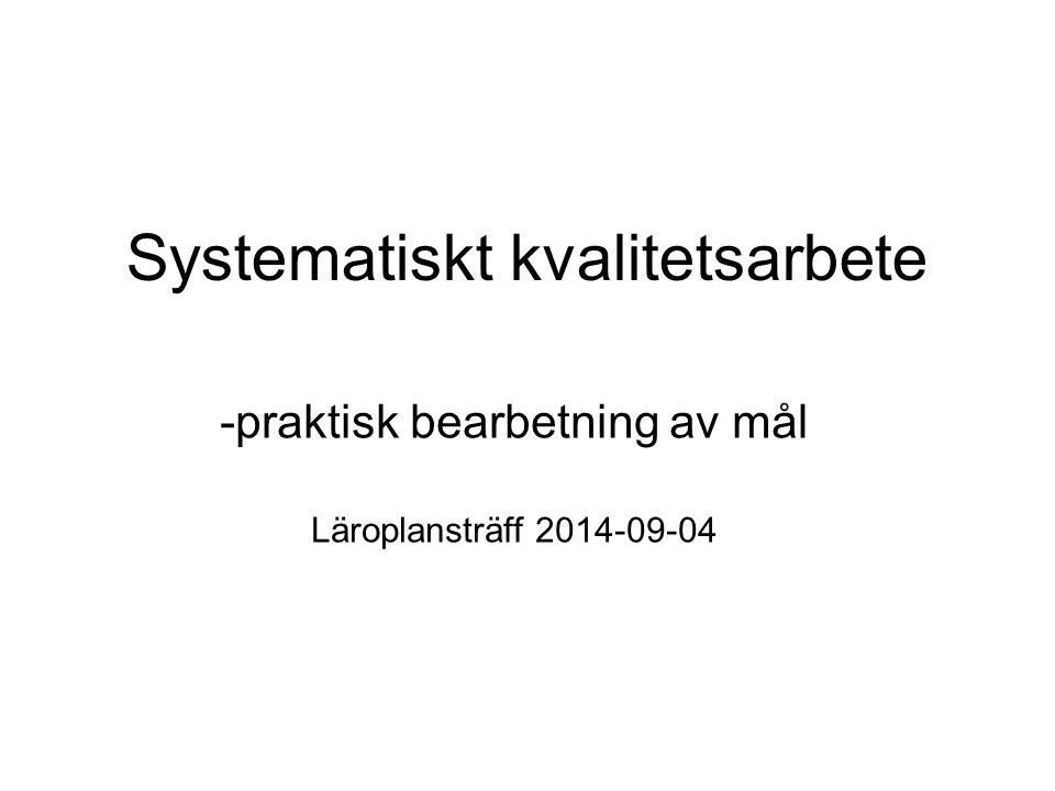 Systematiskt kvalitetsarbete -praktisk bearbetning av mål Läroplansträff 2014-09-04
