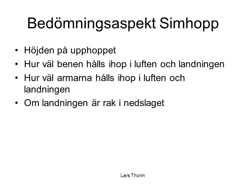 Bedömningsaspekt Simhopp Höjden på upphoppet Hur väl benen hålls ihop i luften och landningen Hur väl armarna hålls ihop i luften och landningen Om la