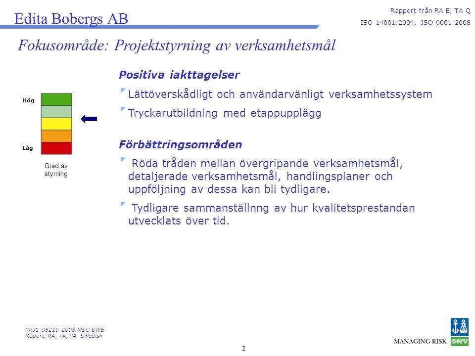 2 Hög Låg Grad av styrning Edita Bobergs AB Rapport från RA E, TA Q ISO 14001:2004, ISO 9001:2008 Fokusområde: Projektstyrning av verksamhetsmål Positiva iakttagelser Lättöverskådligt och användarvänligt verksamhetssystem Tryckarutbildning med etappupplägg Förbättringsområden Röda tråden mellan övergripande verksamhetsmål, detaljerade verksamhetsmål, handlingsplaner och uppföljning av dessa kan bli tydligare.