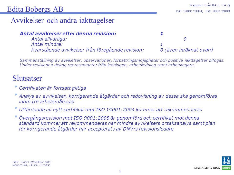 5 Avvikelser och andra iakttagelser Rapport från RA E, TA Q ISO 14001:2004, ISO 9001:2008 Edita Bobergs AB Antal avvikelser efter denna revision: 1 Antal allvarliga:0 Antal mindre:1 Kvarstående avvikelser från föregående revision: 0 (även inräknat ovan) Sammanställning av avvikelser, observationer, förbättringsmöjligheter och positiva iakttagelser bifogas.
