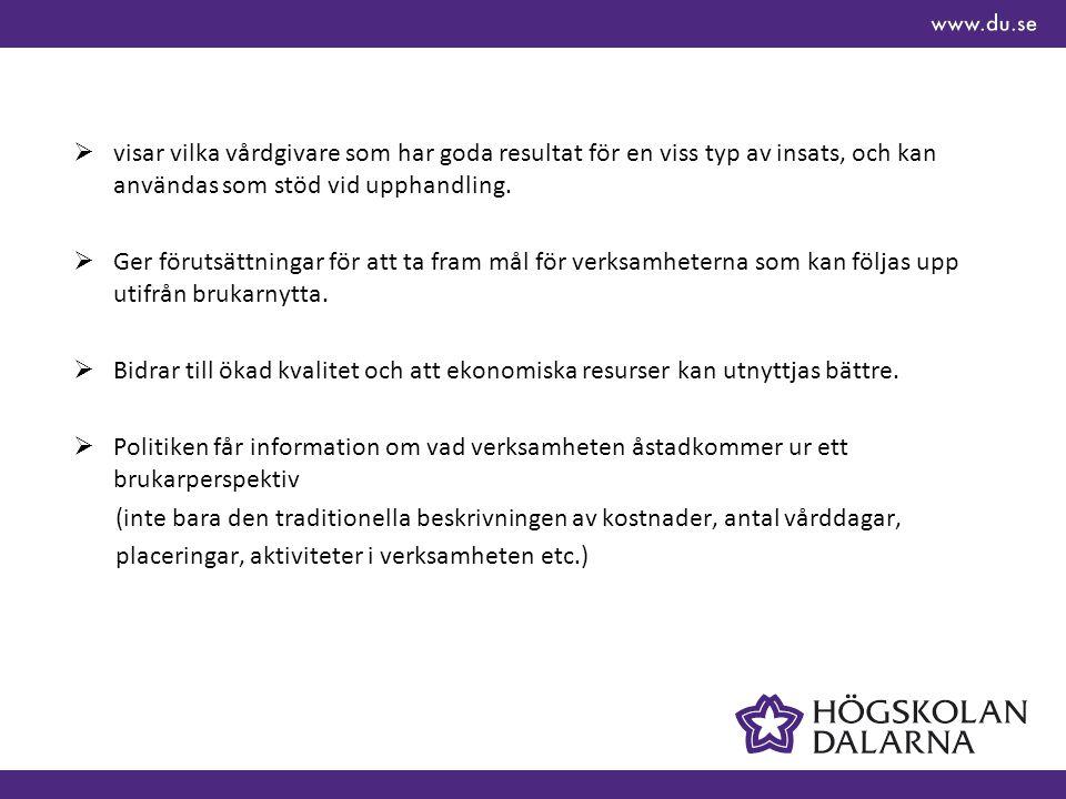 Exempel på nyttan med UIV  Vilka olika insatser ger kommuner till kvinnor som missbrukar läkemedel – hur skiljer sig resultaten.