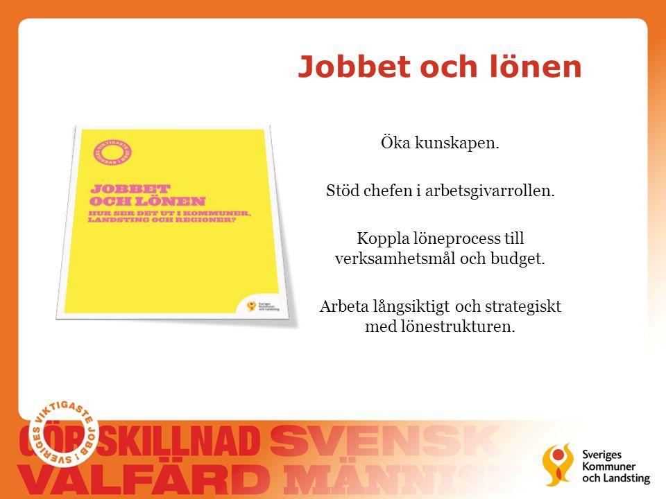 Jobbet och lönen Öka kunskapen. Stöd chefen i arbetsgivarrollen. Koppla löneprocess till verksamhetsmål och budget. Arbeta långsiktigt och strategiskt