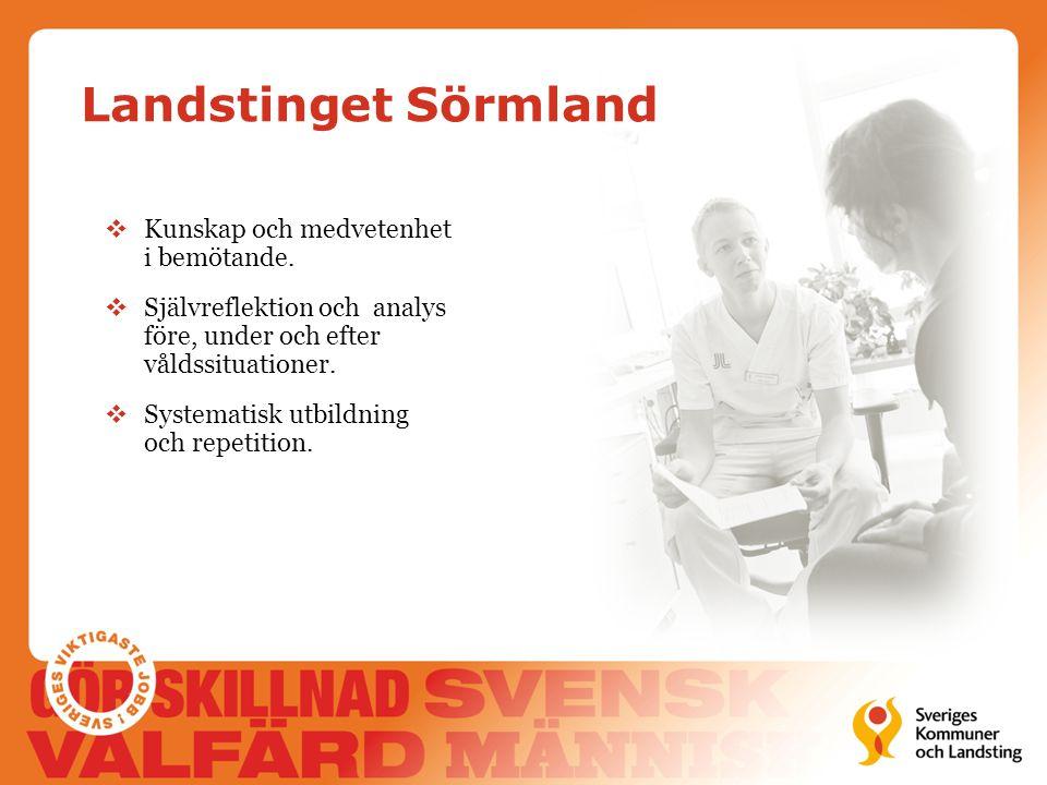 Landstinget Sörmland  Kunskap och medvetenhet i bemötande.  Självreflektion och analys före, under och efter våldssituationer.  Systematisk utbildn