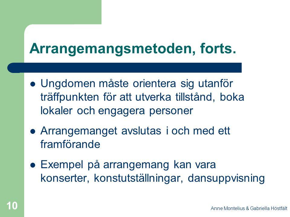 Anne Montelius & Gabriella Höstfält 10 Arrangemangsmetoden, forts. Ungdomen måste orientera sig utanför träffpunkten för att utverka tillstånd, boka l