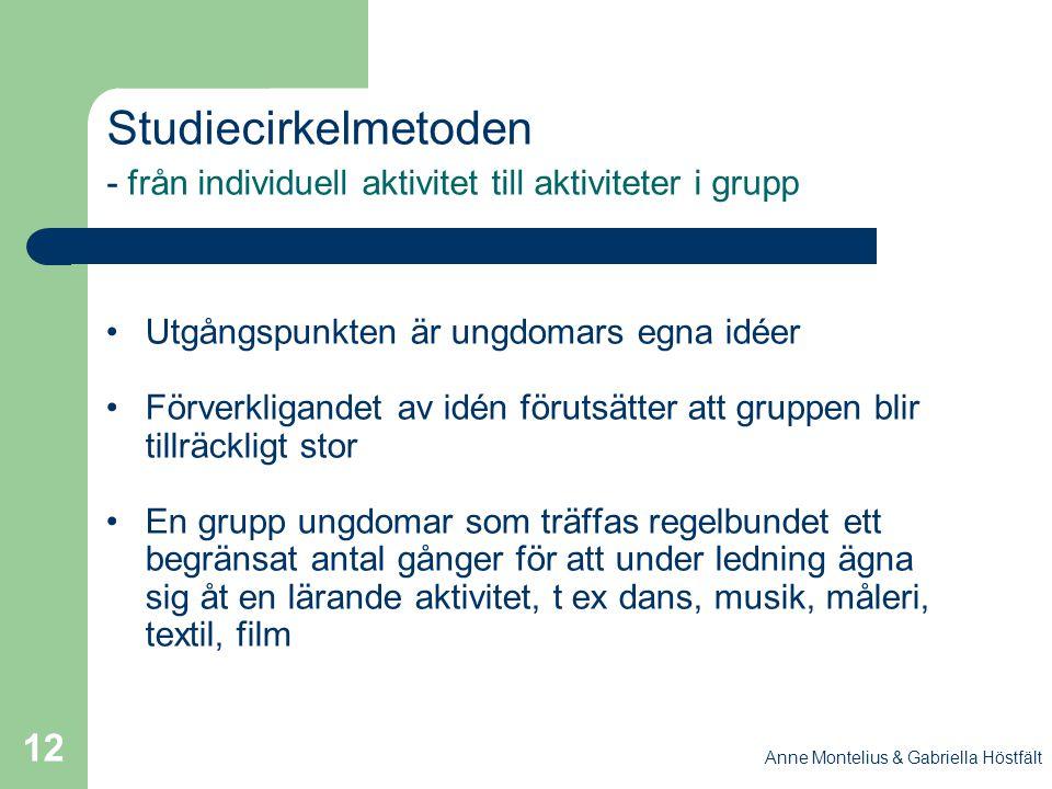 Anne Montelius & Gabriella Höstfält 12 Studiecirkelmetoden - från individuell aktivitet till aktiviteter i grupp Utgångspunkten är ungdomars egna idée