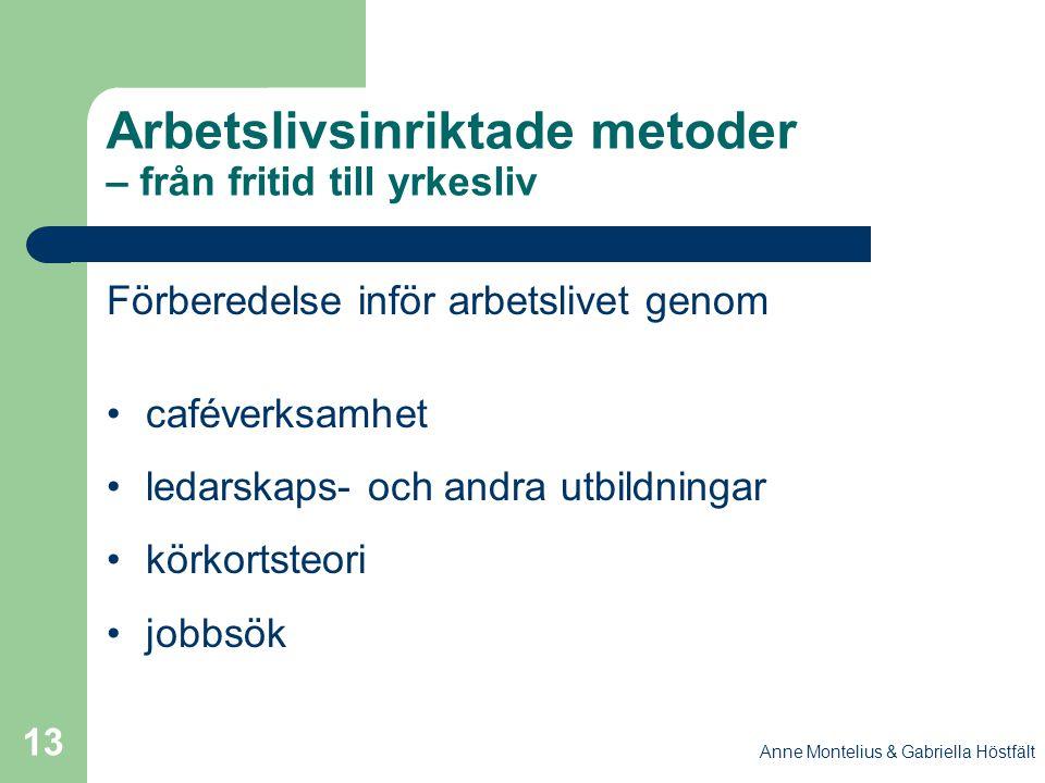 Anne Montelius & Gabriella Höstfält 13 Arbetslivsinriktade metoder – från fritid till yrkesliv Förberedelse inför arbetslivet genom caféverksamhet led