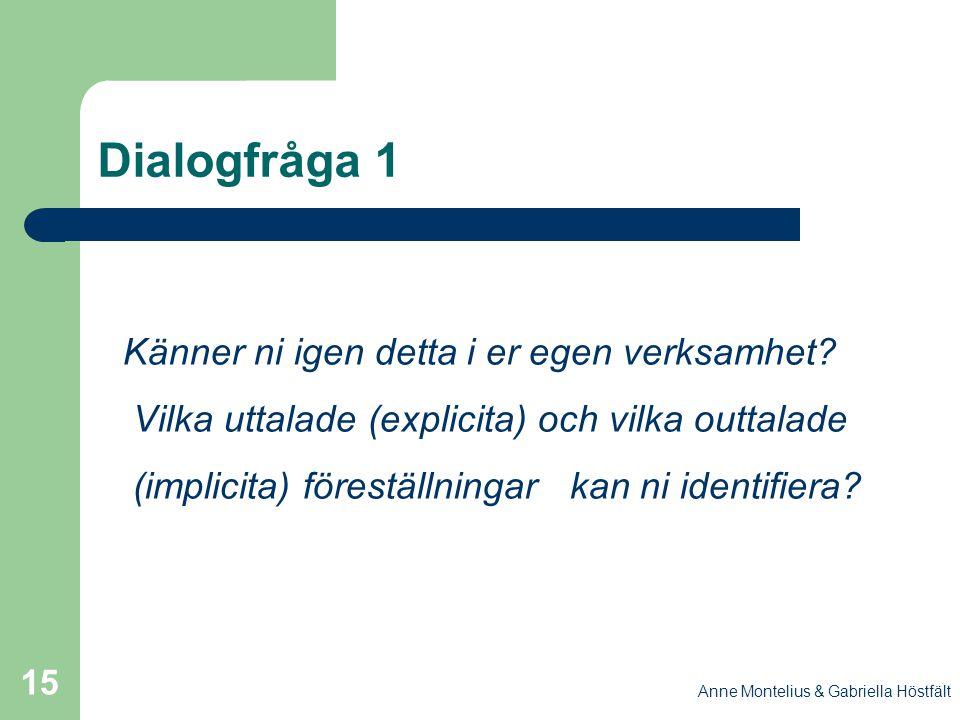 Anne Montelius & Gabriella Höstfält 15 Dialogfråga 1 Känner ni igen detta i er egen verksamhet? Vilka uttalade (explicita) och vilka outtalade (implic
