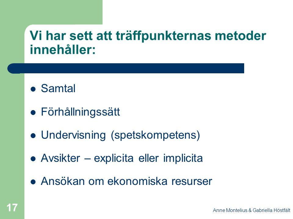 Anne Montelius & Gabriella Höstfält 17 Vi har sett att träffpunkternas metoder innehåller: Samtal Förhållningssätt Undervisning (spetskompetens) Avsik