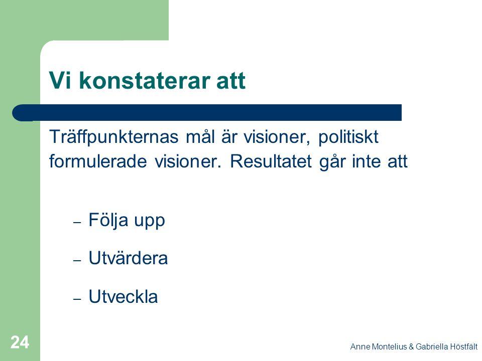 Anne Montelius & Gabriella Höstfält 24 Vi konstaterar att Träffpunkternas mål är visioner, politiskt formulerade visioner. Resultatet går inte att – F