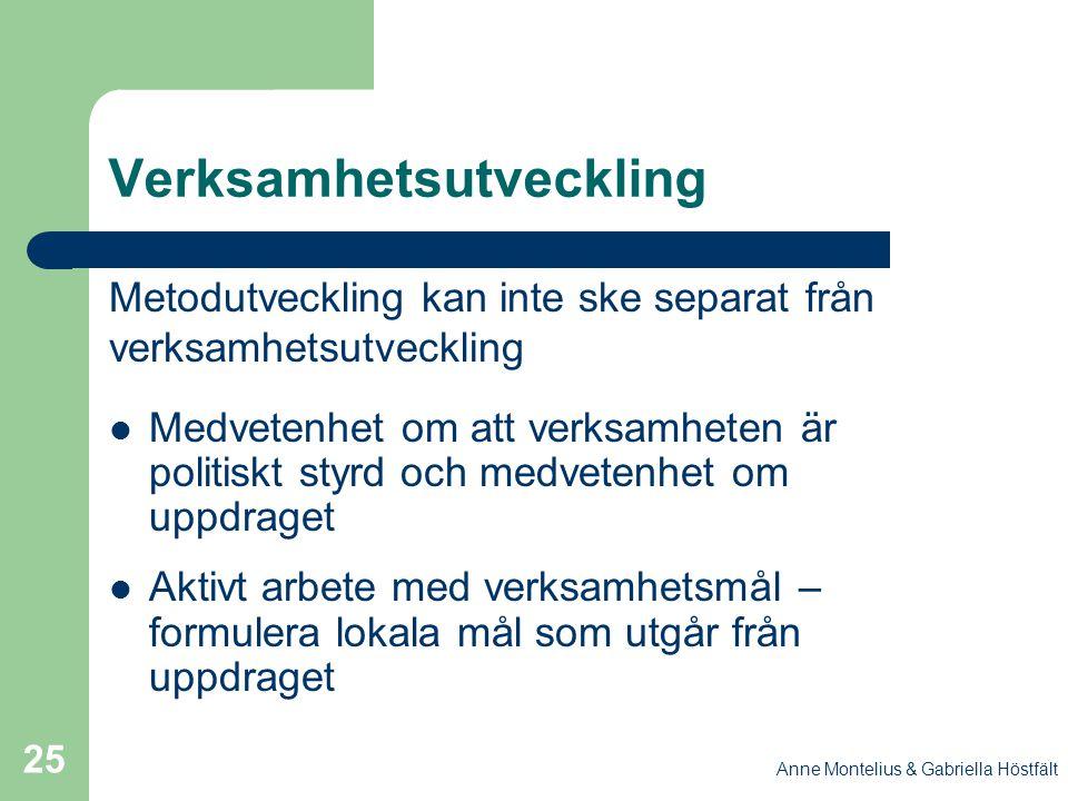 Anne Montelius & Gabriella Höstfält 25 Verksamhetsutveckling Metodutveckling kan inte ske separat från verksamhetsutveckling Medvetenhet om att verksa