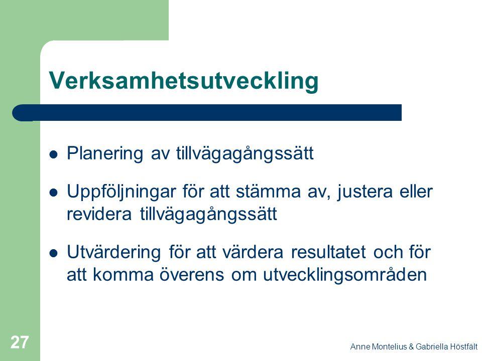 Anne Montelius & Gabriella Höstfält 27 Verksamhetsutveckling Planering av tillvägagångssätt Uppföljningar för att stämma av, justera eller revidera ti