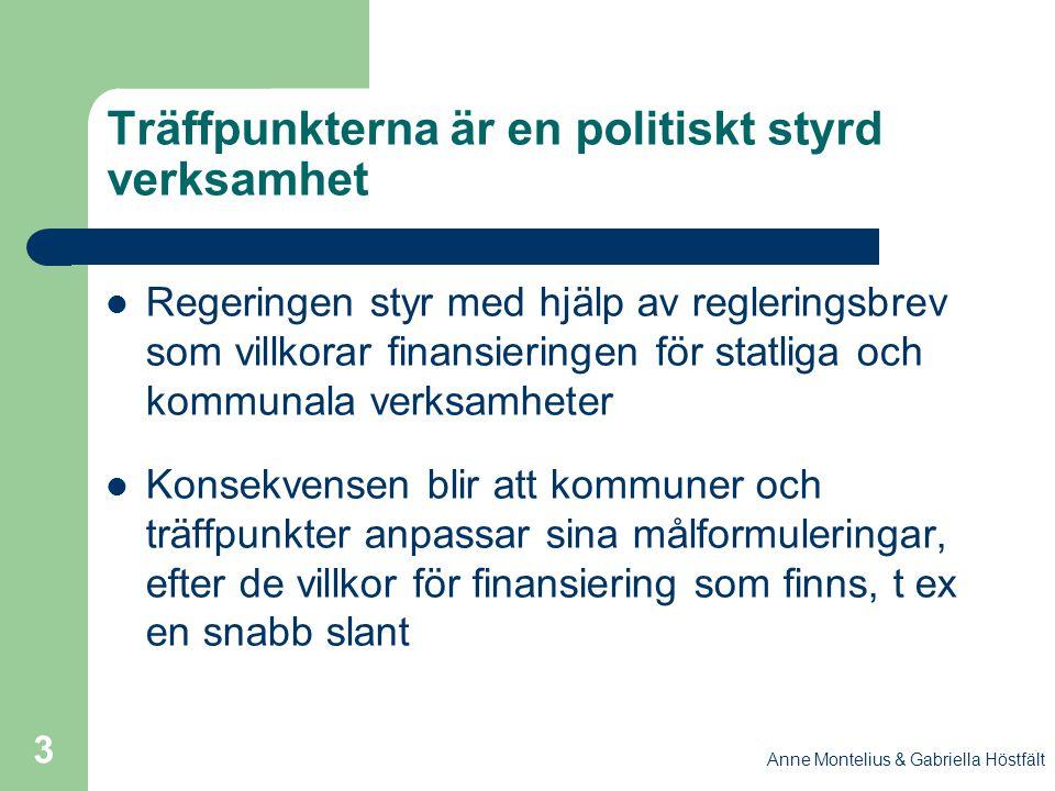 Anne Montelius & Gabriella Höstfält 3 Träffpunkterna är en politiskt styrd verksamhet Regeringen styr med hjälp av regleringsbrev som villkorar finans