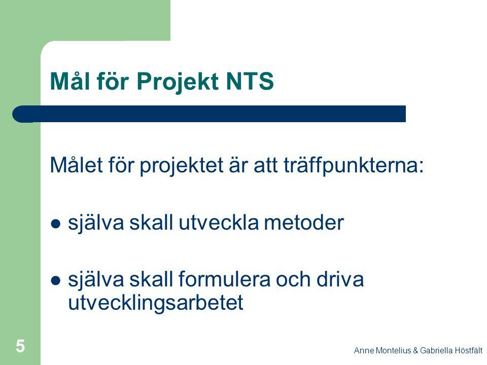 Anne Montelius & Gabriella Höstfält 5 Mål för Projekt NTS Målet för projektet är att träffpunkterna: själva skall utveckla metoder själva skall formul