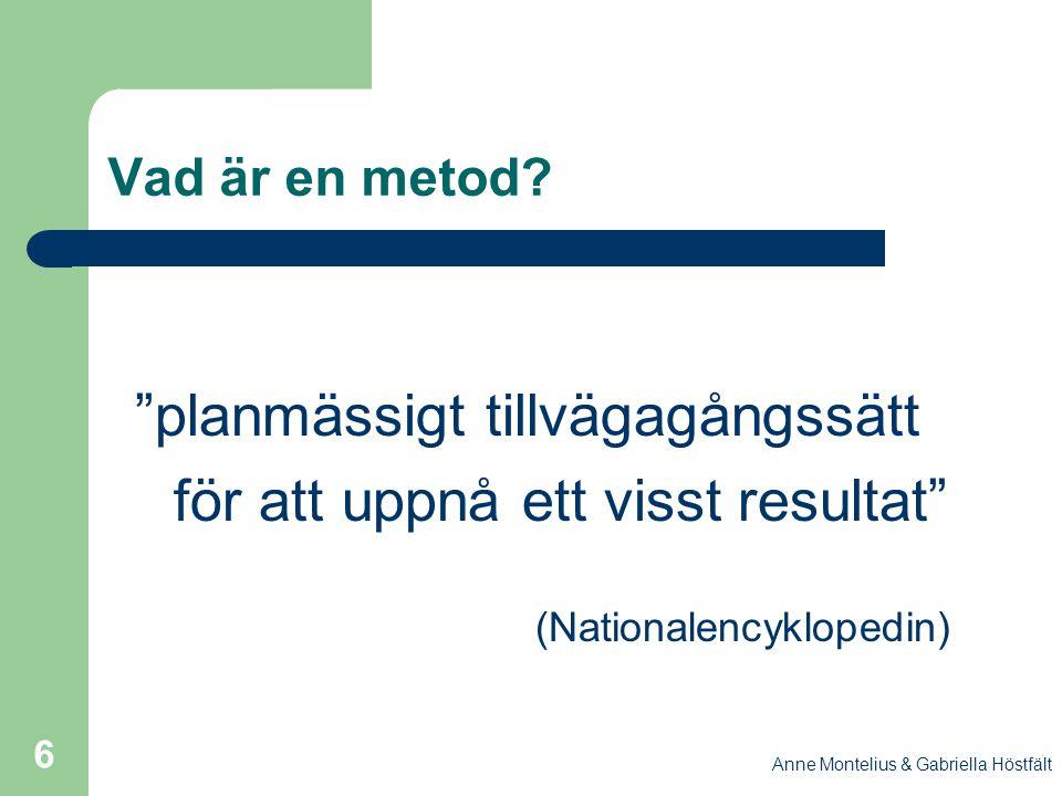 """Anne Montelius & Gabriella Höstfält 6 Vad är en metod? """"planmässigt tillvägagångssätt för att uppnå ett visst resultat"""" (Nationalencyklopedin)"""