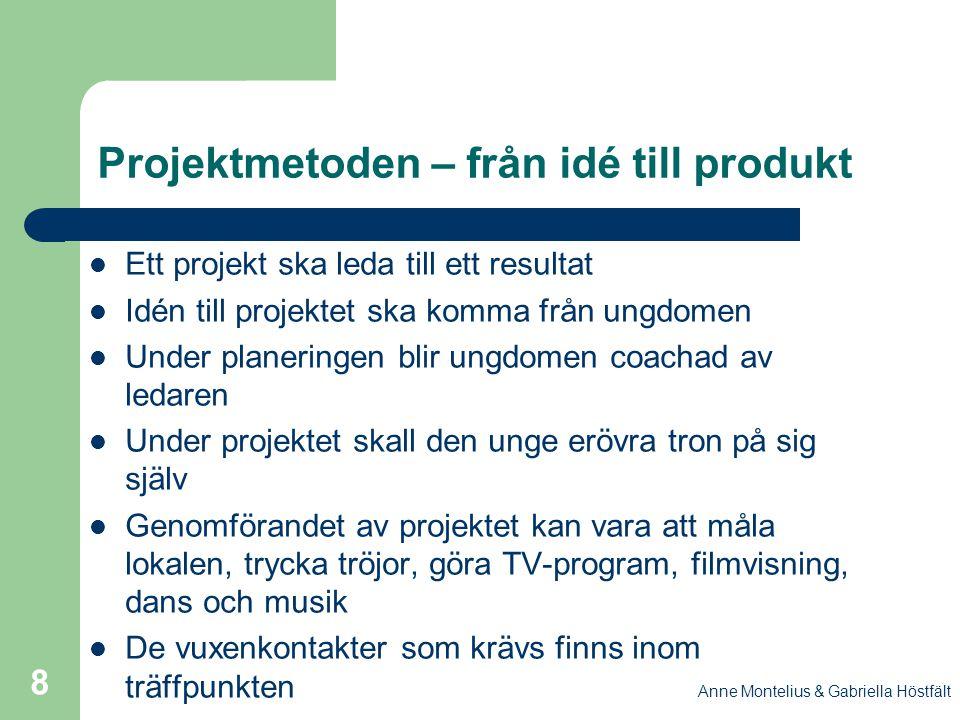 Anne Montelius & Gabriella Höstfält 8 Projektmetoden – från idé till produkt Ett projekt ska leda till ett resultat Idén till projektet ska komma från
