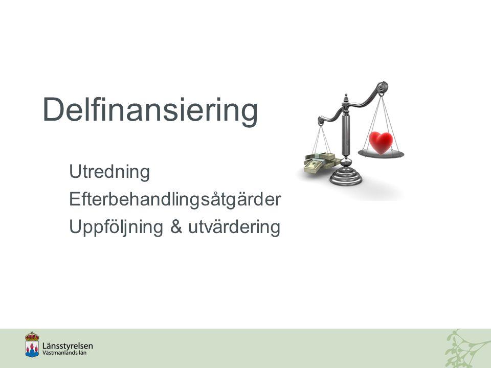 Delfinansiering Utredning Efterbehandlingsåtgärder Uppföljning & utvärdering