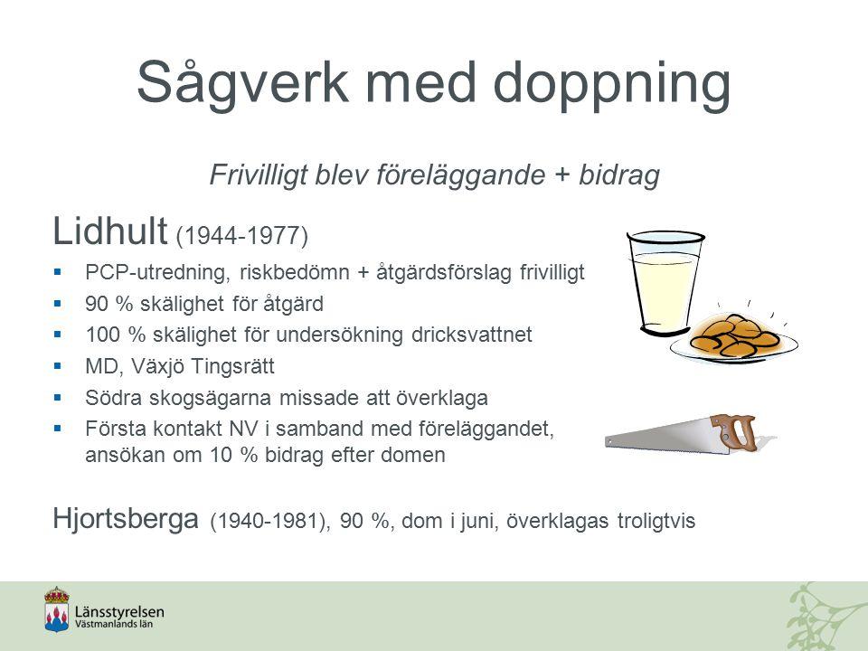 Sågverk med doppning Frivilligt blev föreläggande + bidrag Lidhult (1944-1977)  PCP-utredning, riskbedömn + åtgärdsförslag frivilligt  90 % skälighet för åtgärd  100 % skälighet för undersökning dricksvattnet  MD, Växjö Tingsrätt  Södra skogsägarna missade att överklaga  Första kontakt NV i samband med föreläggandet, ansökan om 10 % bidrag efter domen Hjortsberga (1940-1981), 90 %, dom i juni, överklagas troligtvis
