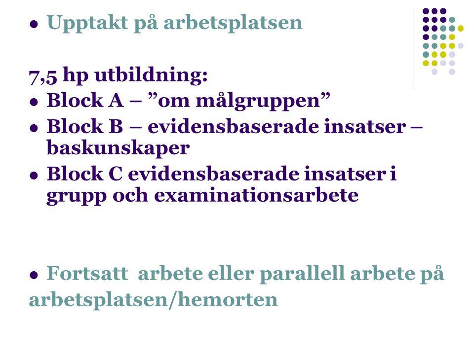 Upptakt på arbetsplatsen 7,5 hp utbildning: Block A – om målgruppen Block B – evidensbaserade insatser – baskunskaper Block C evidensbaserade insatser i grupp och examinationsarbete Fortsatt arbete eller parallell arbete på arbetsplatsen/hemorten
