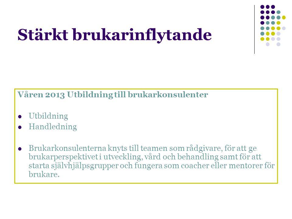 Stärkt brukarinflytande Våren 2013 Utbildning till brukarkonsulenter Utbildning Handledning Brukarkonsulenterna knyts till teamen som rådgivare, för a