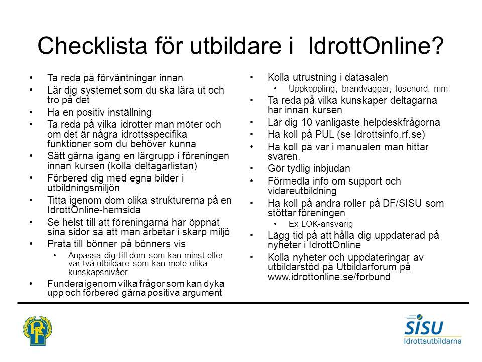Checklista för utbildare i IdrottOnline.