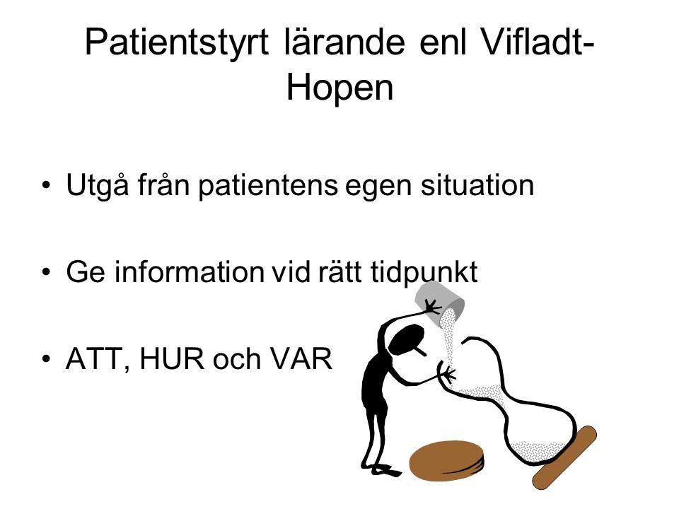Patientstyrt lärande enl Vifladt- Hopen Utgå från patientens egen situation Ge information vid rätt tidpunkt ATT, HUR och VAR