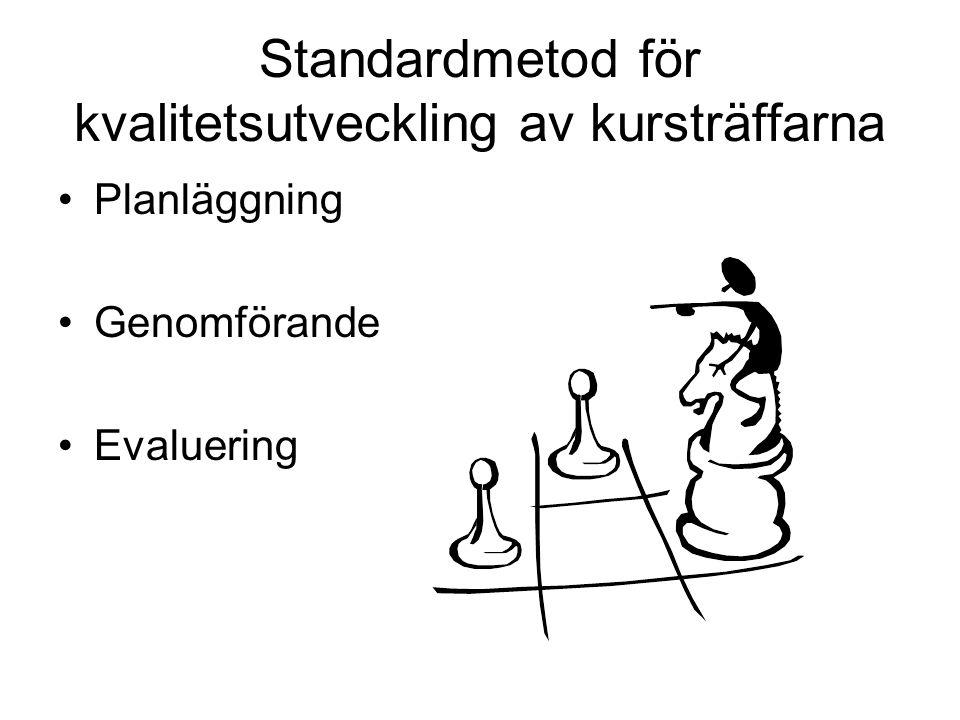 Standardmetod för kvalitetsutveckling av kursträffarna Planläggning Genomförande Evaluering