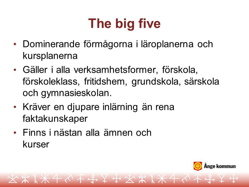 The big five Dominerande förmågorna i läroplanerna och kursplanerna Gäller i alla verksamhetsformer, förskola, förskoleklass, fritidshem, grundskola, särskola och gymnasieskolan.