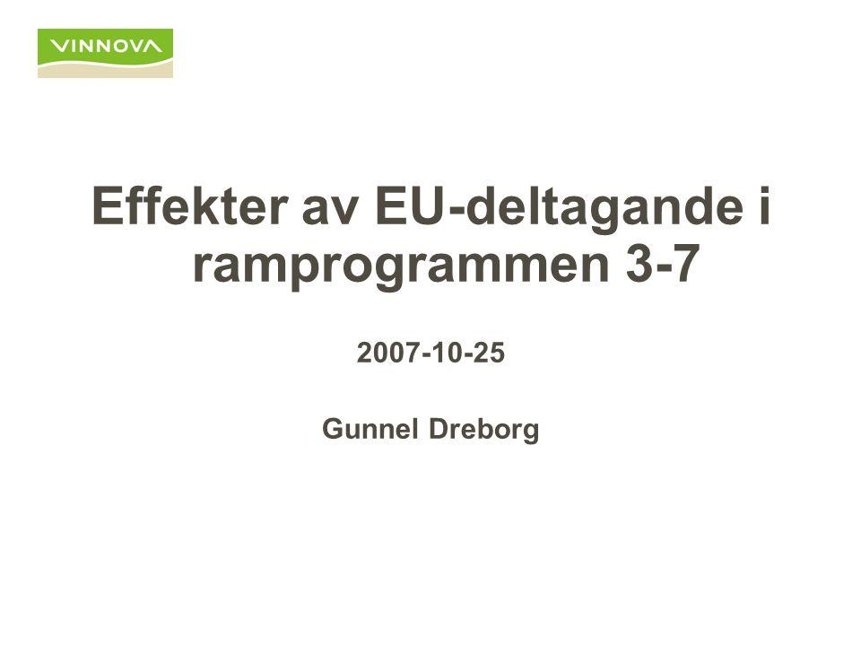 Effekter av EU-deltagande i ramprogrammen 3-7 2007-10-25 Gunnel Dreborg
