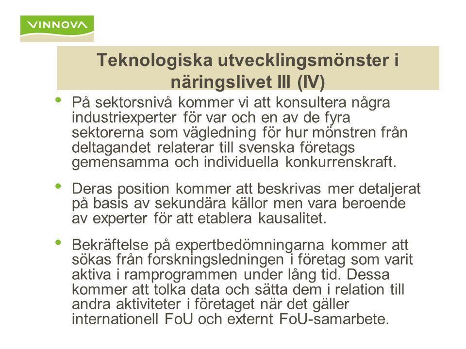 Teknologiska utvecklingsmönster i näringslivet III (IV) På sektorsnivå kommer vi att konsultera några industriexperter för var och en av de fyra sektorerna som vägledning för hur mönstren från deltagandet relaterar till svenska företags gemensamma och individuella konkurrenskraft.
