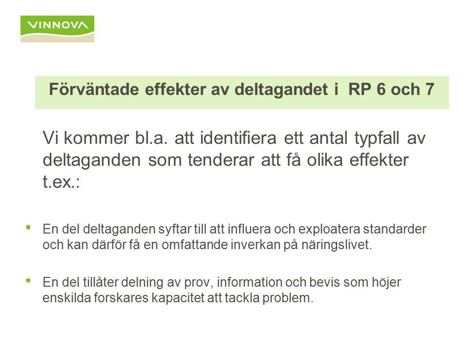 Förväntade effekter av deltagandet i RP 6 och 7 Vi kommer bl.a.