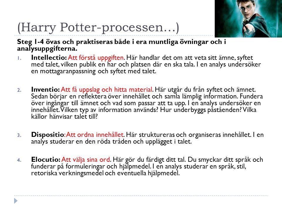 (Harry Potter-processen…) Steg 1-4 övas och praktiseras både i era muntliga övningar och i analysuppgifterna. 1. Intellectio: Att förstå uppgiften. Hä