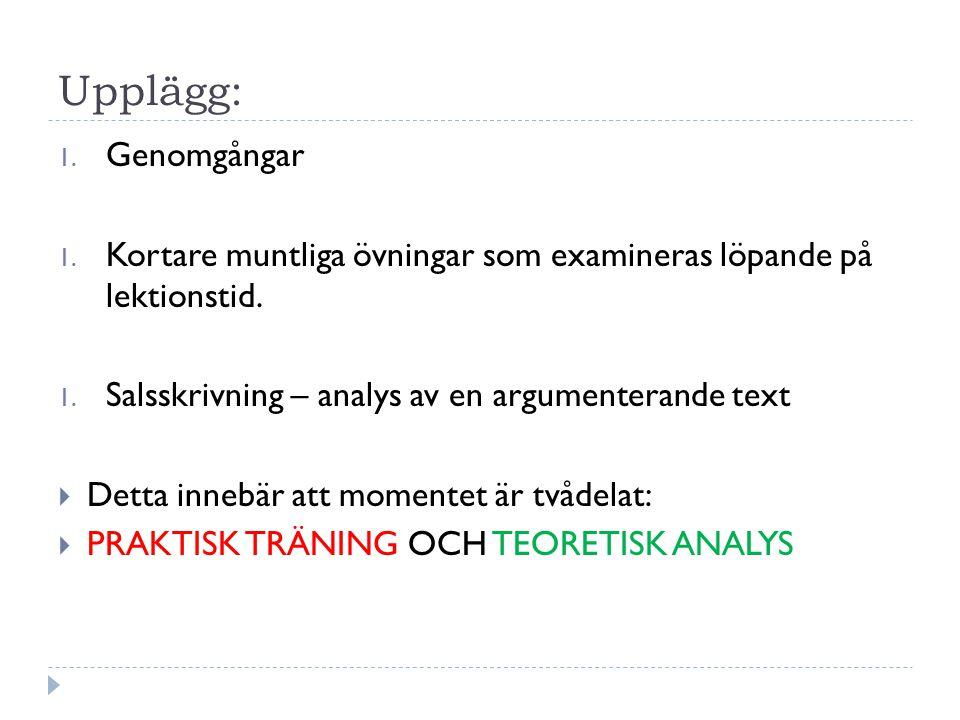Upplägg: 1. Genomgångar 1. Kortare muntliga övningar som examineras löpande på lektionstid. 1. Salsskrivning – analys av en argumenterande text  Dett
