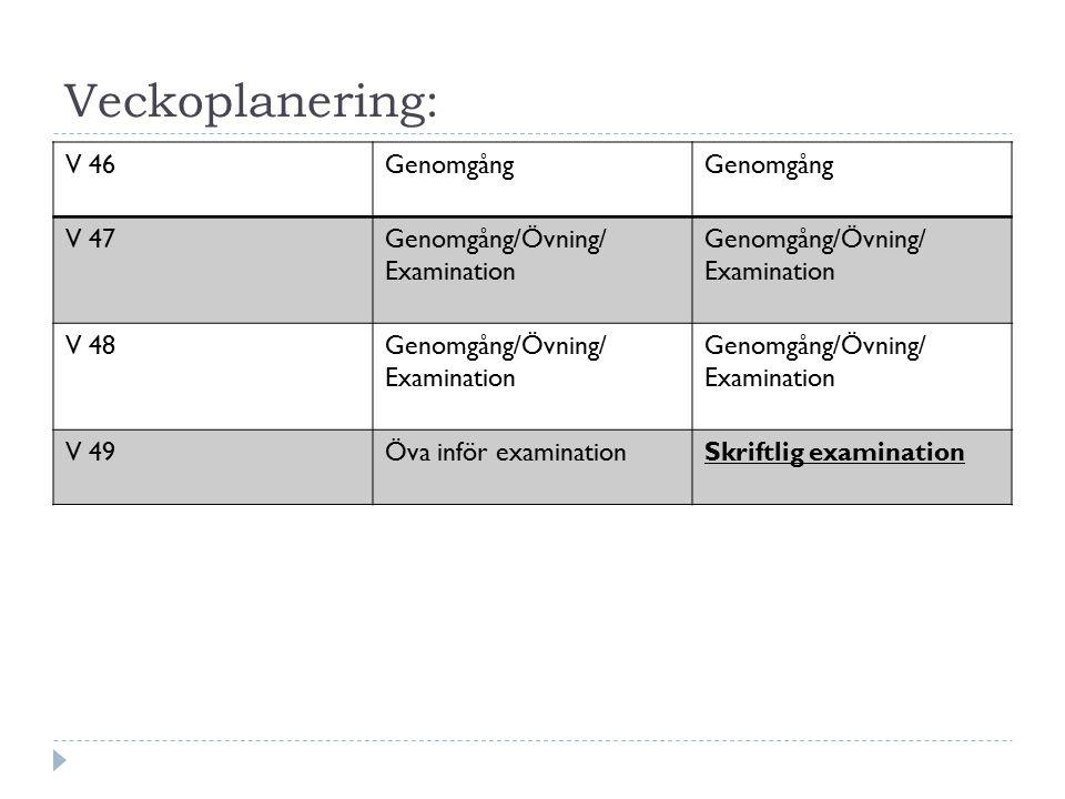 Veckoplanering: V 46Genomgång V 47Genomgång/Övning/ Examination V 48Genomgång/Övning/ Examination V 49Öva inför examinationSkriftlig examination