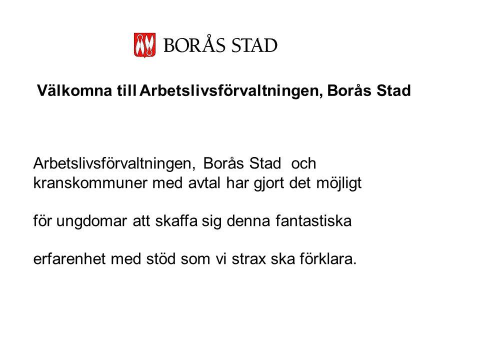 Välkomna till Arbetslivsförvaltningen, Borås Stad Arbetslivsförvaltningen, Borås Stad och kranskommuner med avtal har gjort det möjligt för ungdomar a