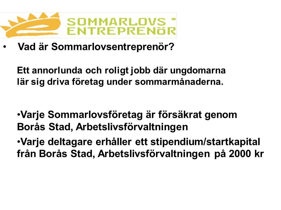 Vad är Sommarlovsentreprenör? Ett annorlunda och roligt jobb där ungdomarna lär sig driva företag under sommarmånaderna. Varje Sommarlovsföretag är fö